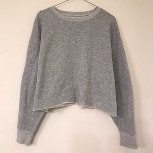Cropped Distressed Heather Grey Sweatshirt